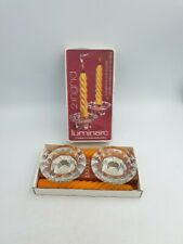 VINTAGE LUMINARC FRANCE CLEAR GLASS CANDLE HOLDERS ORANGE CANDLES 4PC BOXED SET