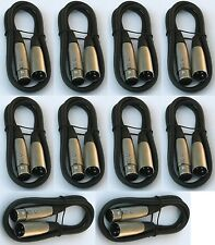 12 lot pack 3ft xlr male to female 3pin MIC Shielded Cable 3 ft microphone audio