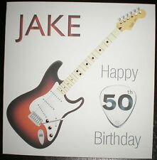 HANDMADE PERSONALISED ELECTRIC GUITAR BIRTHDAY CARD 21st 30th 40th 50th 60th Etc