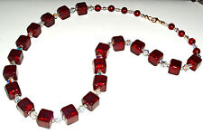Beautiful Crimson Murano Glass Cube and Crystal Necklace