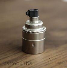 Vintage Nickel plain E27/ES/Screw pendant bulb lamp holder   light fitting
