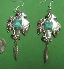 EAGLE & FEATHER-SOUTHWESTERN STYLE  EARRINGS-HAND CRAFTED