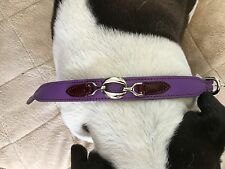 "NWT HARTMAN & ROSE SIZE 16"" GRAPE/WINE TABS  COLLAR ITALIAN LEATHER AND HARDWARE"
