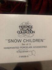 """Dept 56 """"Snow Children """" Set of 3 Porcelain Pieces #5938-2"""