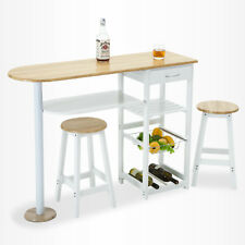 Oak White Kitchen Island Trolley Cart Dining Table Storage 2 Bar Stools & Drawer