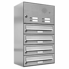 4er Premium Edelstahl Briefkasten Außen mit Klingel Wand Postkasten design 1x4