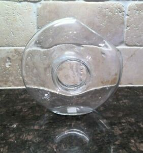 Crate & Barrel Art Glass Clear Vase Donut Hole Angled Opening for Ikebana Floral