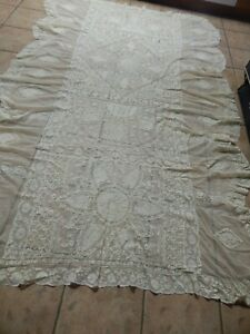 ANTIQUE FRENCH NORMANDY  MIXED LACE, HAND EMBROIDERED BED  COVERLED   #2