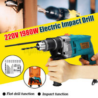 """1/2"""" 1980W Hammer Impact Variable Electric Corded Drill Chuck 3800rpm High"""