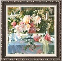 """Hand-painted Original Oil Painting art Floral knife flowers on canvas 24""""x24"""""""