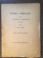 Wilde v Whistler 1906 printing limited to 400 copies printed