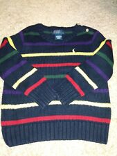 Polo Ralph Lauren Boys Pullover Cotton Crewneck Sweater Striped Size 24 Month