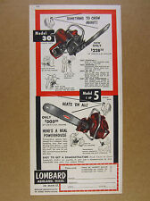 1953 Lombard Model 30 & 5 Chain Saws chainsaw vintage print Ad