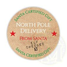 North Pole Delivery Stickers 37mm Paper Rounds 35 To A Sheet Christmas SALE