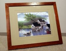 print on silk with embroidery small standing frame asian landscape lake bridge