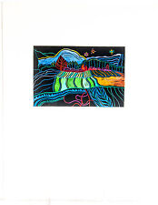"""Woodblock Linocut Print Landscape """"Frosty Night, Lopez"""" Signed Numbered Dated"""