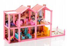 Large 136 PCs Doll House Set 2 Story 6 Rooms Barbie Doll Dollhouse + 3 figurine