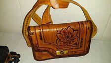 Gorgeous Vintage Hand Tooled Roses Floral Bird Ladies Leather Handbag Bag Purse