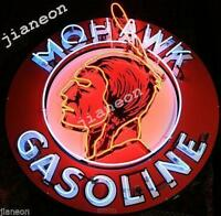 "24""X24"" Huge MOHAWK Oil Gas Station Real NEON LIGHT SIGN Silkscreen Backing"