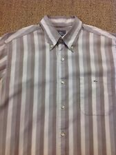 men's LACOSTE 42 Large, Beige Striped Long Sleeve Shirt. Superb