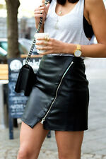 ZARA WOMENS BLACK FAUX LEATHER MINI SKIRT WITH ZIP *SMALL/UK 8* REF: 2398/021