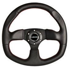 """Leather steering wheel """"D"""" Shape with RED Stitching + HUB + quick release XP1000"""