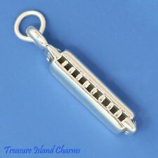 Harmonica Music Instrument 3D 925 Solid Sterling Silver Charm MADE IN USA