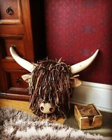 Quality Handmade, Wall Mounted Highland Cow Head. Made With Recycled Materials.