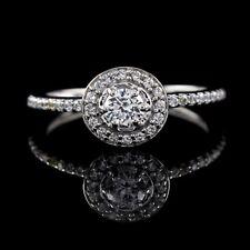 D/VVS1 Engagement Ring .75 Carat Halo Style White Gold Finish 925 Bridal Jewelry
