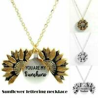 You are my sunshine Open Locket Sunflower Pendant Necklace Jewelry Gift