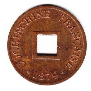FRENCH COCHIN CHINA 2 sapeque 1879-A KM2 Br 1yr type HIGH GRADE - RARE THIS NICE