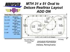 MTH REALTRAX 31 X 51 OVAL TO A DELUXE REALTRAX TRACK LAYOUT ADD-ON-PACK layout