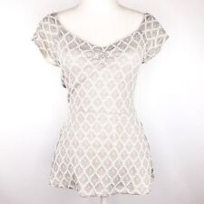 Deletta Anthropologie Womens Size M Peplum Lace Shirt Top Blouse Cut Out Back