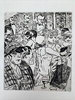 Jean Dulac gravure Eau Forte Etching Dancing À Montmartre Bistrot Paris Art Deco