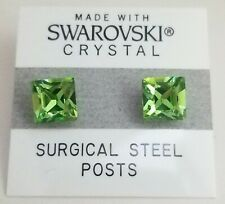Green Square Stud Earrings 8mm Light Crystal Made with Swarovski Elements Gift