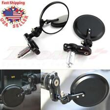 "Black Foldable 3-1/4"" Motorcycle Rearview Side Handle Bar End Mirrors Round 7/8"""