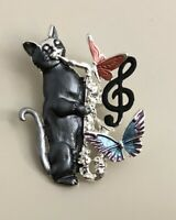 Adorable  artistic  Cat  butterflies large Pin Brooch in enamel on Metal