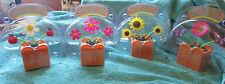 SET OF 4 SOLAR FLOWERS LADYBUG/BUTTERFLY SOLAR POWERED  MY LAST SET!!!!!