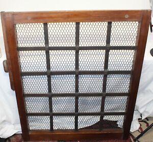 Large Chinese Japanese Tea House Window Iron Metal Wood Mesh Screen Garden Decor