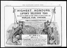 1894 Antique Print ADVERTISING  - Liptons Delicious Teas Worlds Fair   (272)
