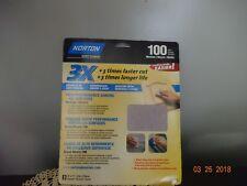 Norton 02620 3X Handy Aluminum-Oxide Sandpaper 100 Grit, 9-Inch x 11-Inch, 3-Pac
