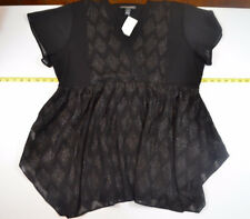 A Pea In The Pod SZ L Occasion Shirt Black Shimmer Embroidered NEW Short Sleeve