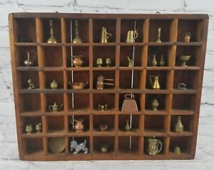 "Vintage 42 Slot Wood Display Box 14"" X 11"" wall Hsnging & 41 Brass & Metal..."