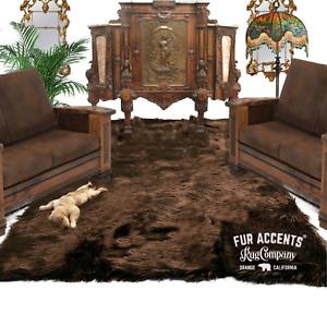 Brown Shag Faux Fur Area Rug, Rectangle, Faux Sheepskin Carpet, Bonded Suede