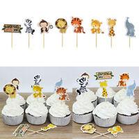 BIN 24pcs Jungle Animal Cupcake Toppers Picks Kids Baby Shower Birthday Party