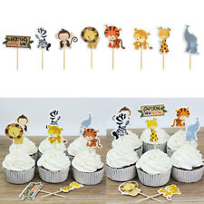 24pcs Jungle Animal Cupcake Toppers Picks Kids Baby Shower Birthday Party Decora