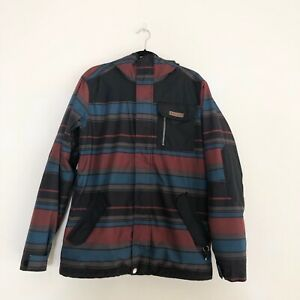 Burton DRYRIDE Mens Small brown blue Red striped snowboard jacket Hooded