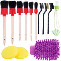 13pc Set Car Detailing Brush Kit Boar Hair Vehicle Auto Interior For Wheel Clean
