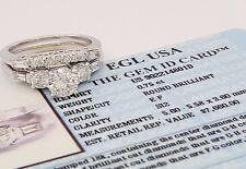 1.43 ct 18k White Gold Round Cut Diamond Engagement Ring Set EGL-USA Rtl $7,660