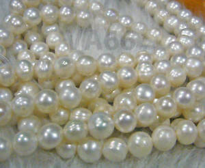 "DIY 15"" Fresh Water Pearls Round Potato Pearl Beads White Natural Ivory 9mm"